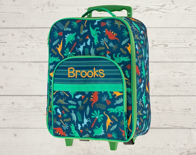Green Dino All Over Print Rolling Luggage FREE Embroidery Personalization