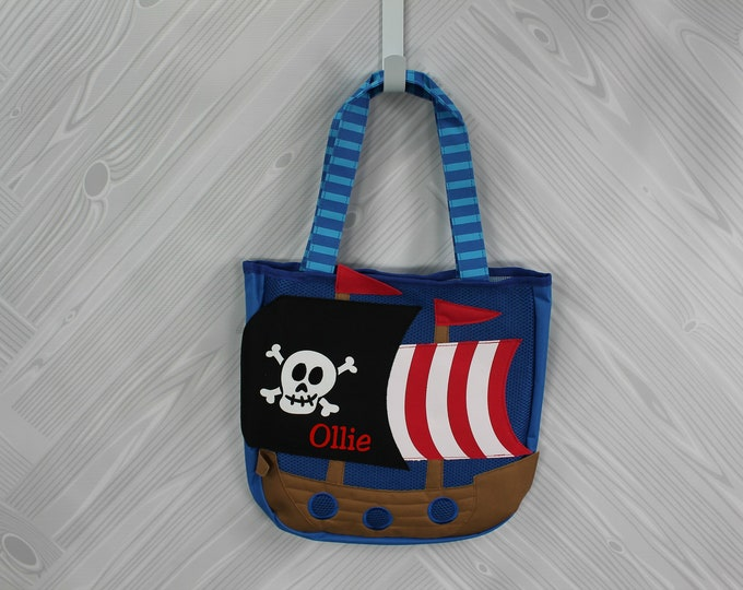 Pirate Beach Tote toddler kids FREE personalization and sand toys included