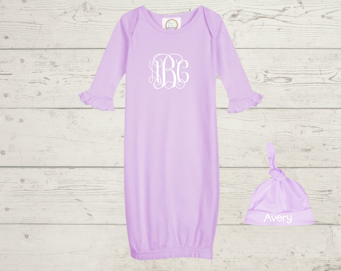 Embroidery Monogrammed Infant Baby Girl Gown with side zipper and Optional Hat