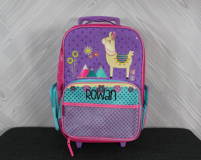 Llama Rolling Luggage toddler preschool kids FREE personalization Carry On Size Luggage