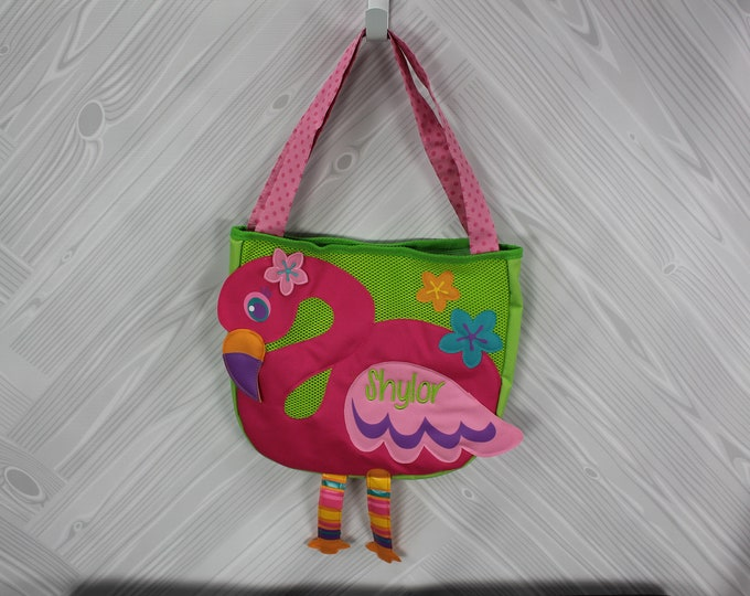 Flamingo Beach Tote toddler kids FREE personalization and sand toys included