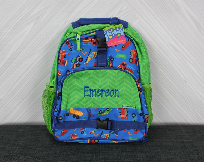 Transportation Trucks Cars Backpack toddler preschool kids FREE Personalization