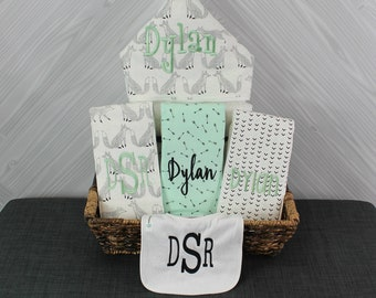 Baby gift basket- Custom for boy or girl monogrammed hooded towel, burp cloths and bib. Perfect baby shower gift!