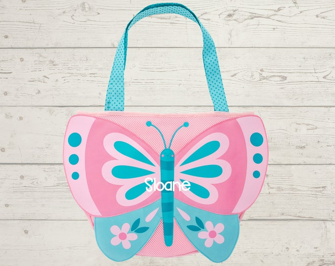 Butterfly Beach Tote toddler kids FREE personalization and sand toys included Embroidery