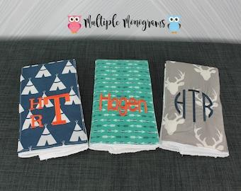Monogrammed Burp Cloths, Set of 3, Custom made for boy or girl, teepee arrow deer print tribal print burp cloths