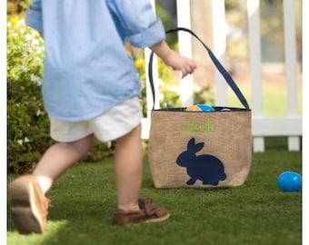 Easter Basket Blue Woven Bunny