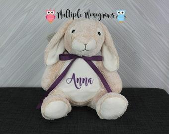 Personalized Bunny Rabbit Stuffed Animal. Keepsake. Baby Shower Gift. Adoption New Baby Baptism Easter Birthday Gift