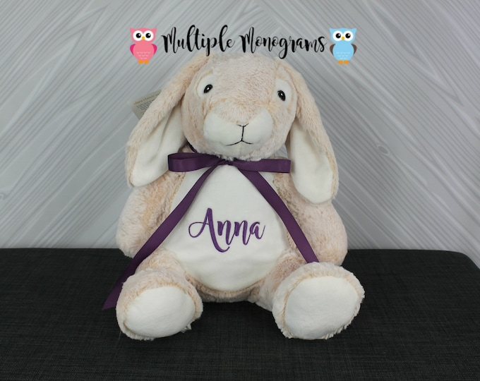 Personalized Bunny Rabbit Stuffed Animal. Keepsake. Baby Shower Gift. Adoption New Baby Baptism Easter Birthday Gift