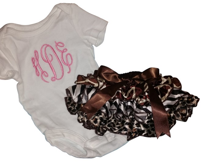 Monogrammed baby girl onesie and animal print ruffle bloomers. Any color for monogram.