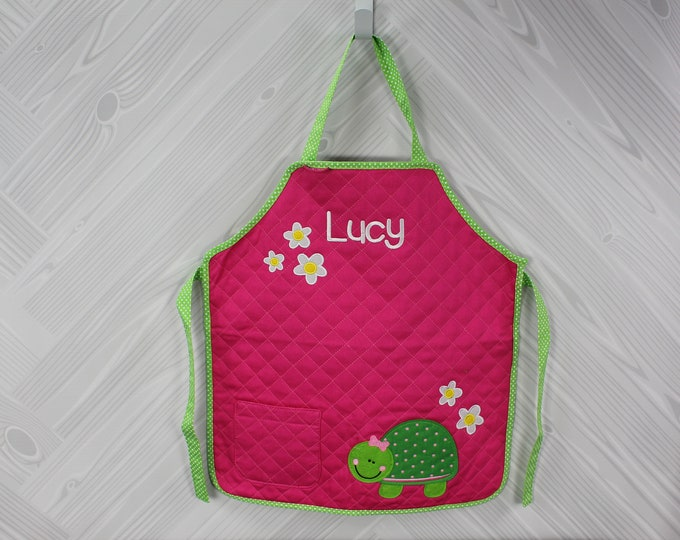 Stephen Joseph Kids Quilted Turtle Cooking Apron Personalized.