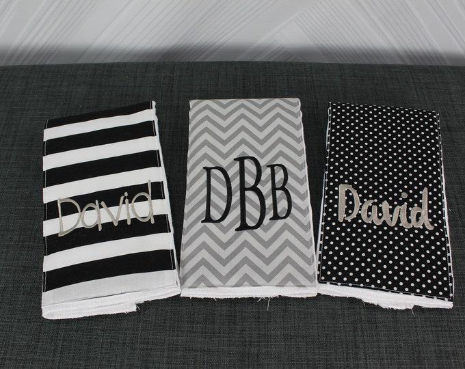 Monogrammed Burp Cloths, Set of 3. Custom made for boy or girl.
