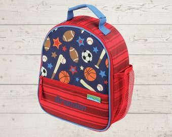 Sports Lunchbox toddler preschool kids FREE Embroidery personalization Baseball Football Basketball Soccer