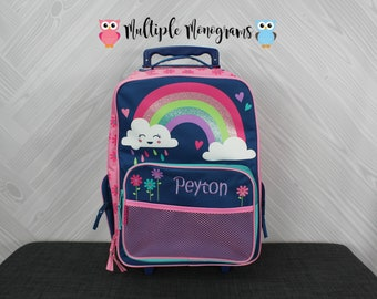 Rainbow Rolling Luggage toddler preschool kids FREE personalization Carry On Size Luggage