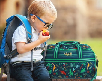 Green Dino All Over Print Duffel Bag FREE Embroidery Personalization