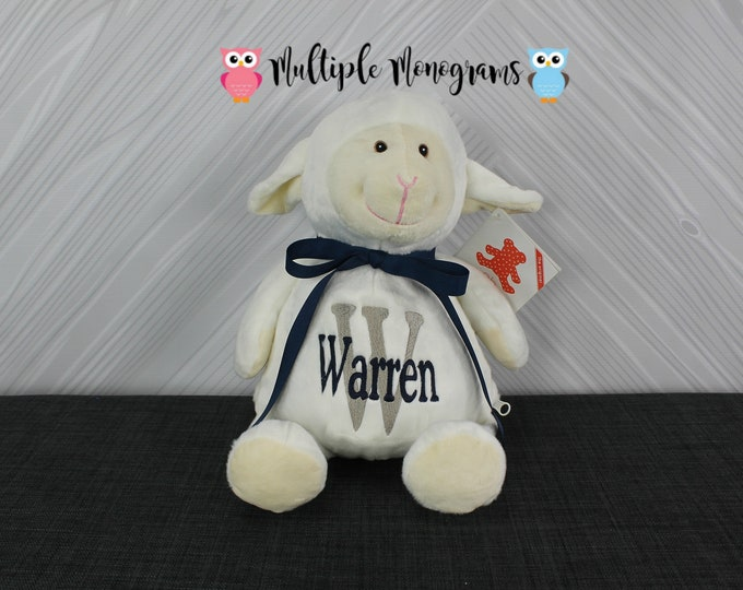 Personalized Lamb Sheep Stuffed Animal Custom Monogram or Personalization Baby Shower New Baby Adoption Baptism Christmas Birthday Gift