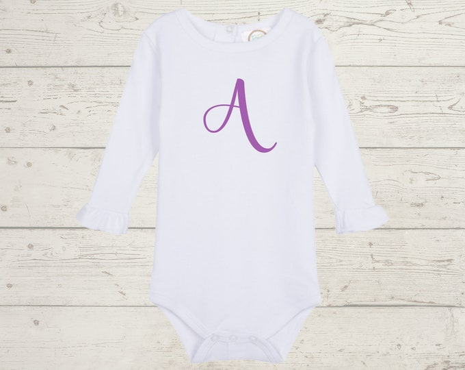 Embroidery Monogrammed Bodysuit for Baby Girl with ruffle long sleeves