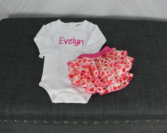 Monogrammed baby girl onesie and pink heart ruffle bloomers. Custom with name or monogram