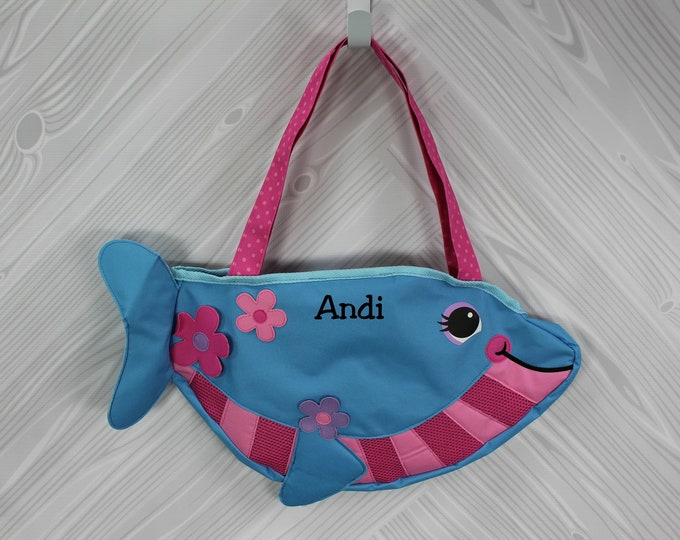 Dolphin Beach Tote toddler kids FREE personalization and sand toys included