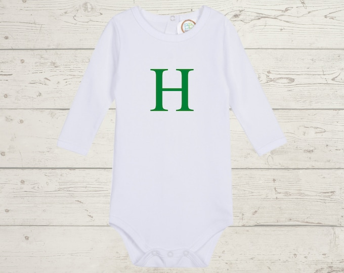 Embroidery Monogrammed Bodysuit for Baby Boy with long sleeves