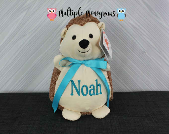 Personalized Hedgehog Stuffed Animals, Custom Personalization, Baby Shower New Baby Adoption Baptism Christmas Birthday gift