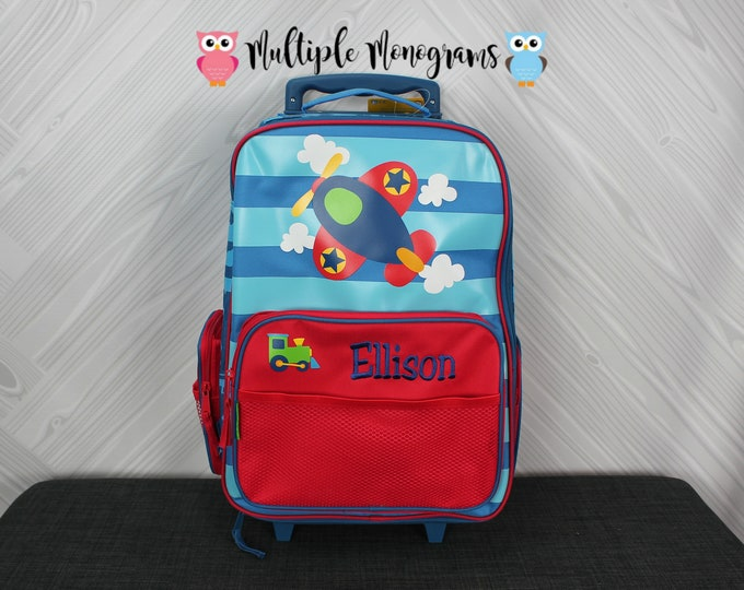 Airplane Rolling Luggage toddler preschool kids FREE personalization Carry On Size Luggage