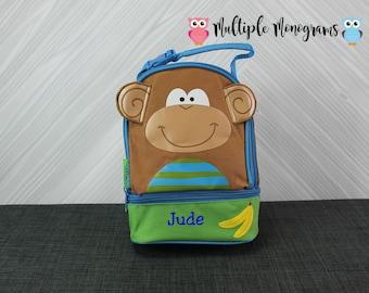 Monkey Lunchbox toddler preschool kids FREE personalization