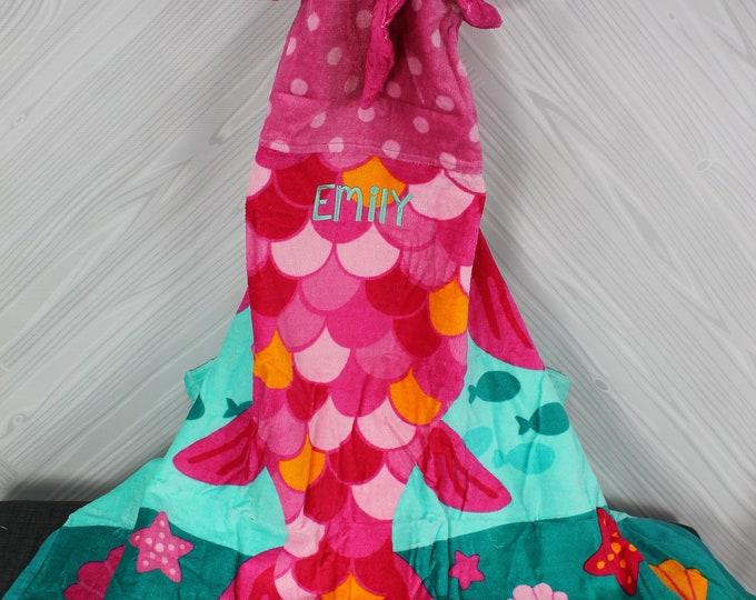 Girl Clownfish Hooded Beach Towel toddler kids FREE personalization