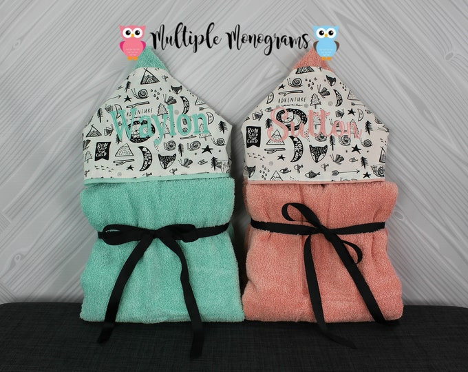 Set of 2 Monogrammed Hooded Baby or Kids Towels. Perfect for twins or siblings. Custom made to order for boy/boy, girl/girl or boy/girl.