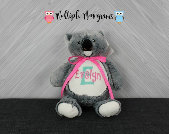 Personalized Koala Bear stuffed animal. Completely Customizable New Baby gift Baby Shower Baptism Adoption Birthday Christmas Gift
