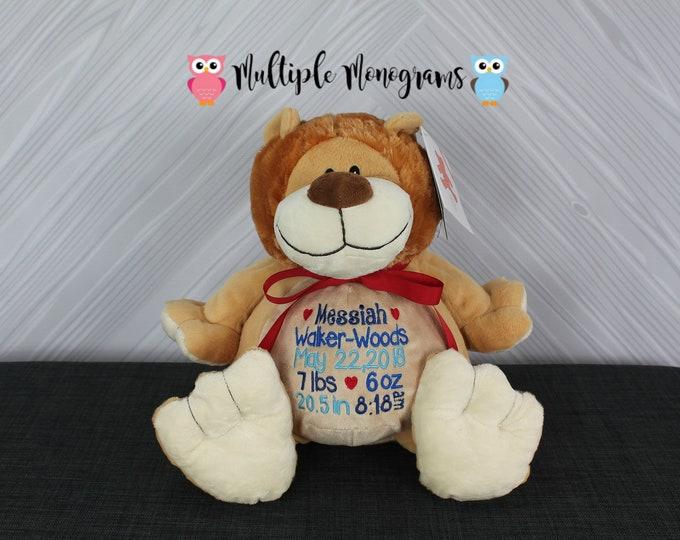 Personalized Lion Stuffed Animal. Baby Shower New Baby Adoption Baptism Birthday Gift Birth Statistic Announcement Newborn Keepsake