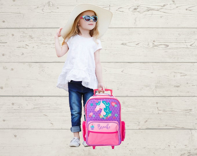 Unicorn Rolling Luggage toddler preschool kids FREE Embroidery personalization Carry On Size Luggage