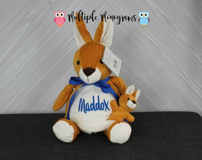 Personalized Kangaroo with baby Stuffed Animals, Custom Personalization, Baby Shower New Baby Adoption Baptism Christmas Birthday gift
