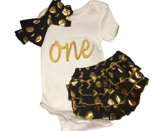 One for birthday OR Monogrammed baby girl onesie, black and gold headband and ruffle bloomers