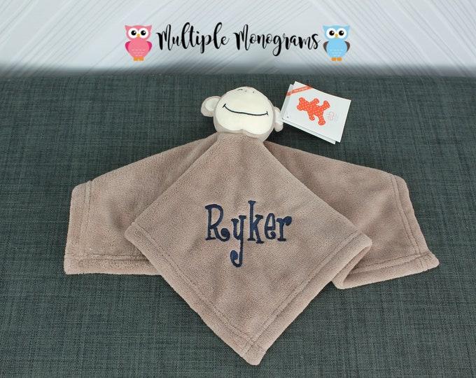 Monogrammed Baby Monkey Cuddle Blankey