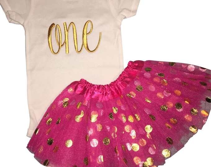 "Girls cursive ""one"" birthday outfit with Hot Pink/Gold Dot tutu. Choose onesie or baby tee."