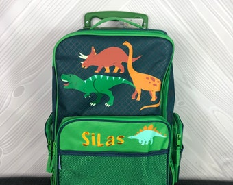 Green Dinosaur Rolling Luggage toddler preschool kids FREE personalization Carry On Size Luggage