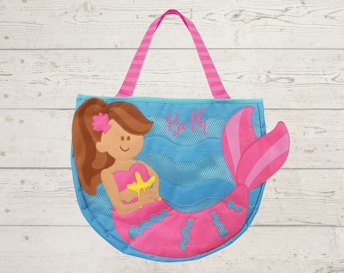 Mermaid Beach Tote toddler kids FREE personalization and sand toys included Embroidery