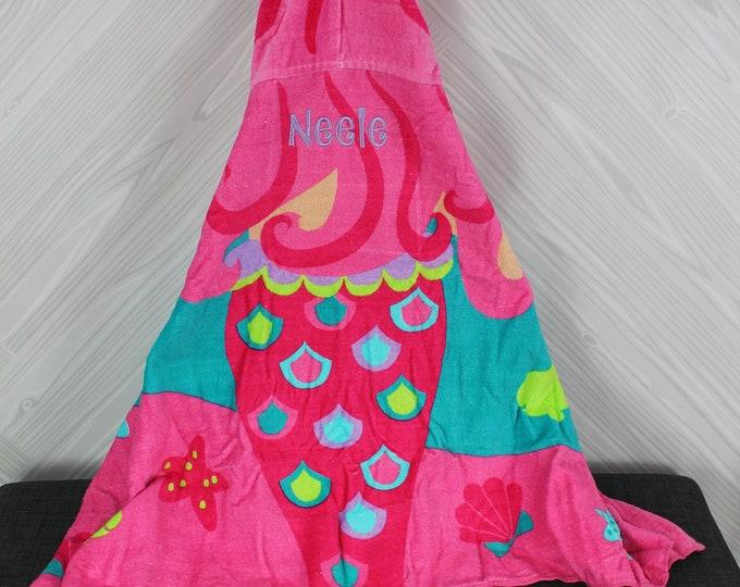 Mermaid Hooded Beach Towel toddler kids FREE personalization