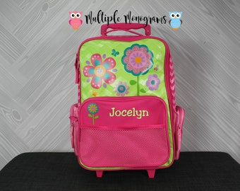 Flower Rolling Luggage toddler preschool kids FREE Embroidery personalization Carry On Size Luggage