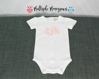 Monogrammed Bodysuit for Baby Girl with pucker short sleeves or ruffled long sleeves