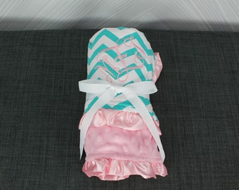 Monogrammed Baby Ruffle Minky Blanket Jade and Pink Chevron
