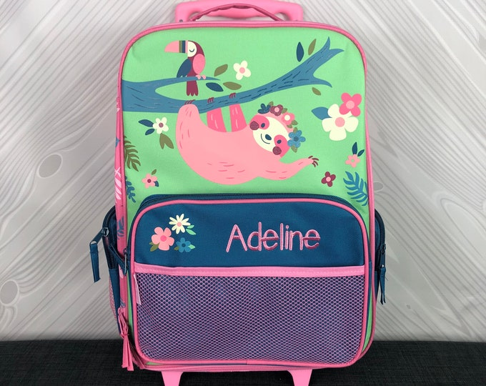Sloth Rolling Luggage toddler preschool kids FREE personalization Carry On Size Luggage