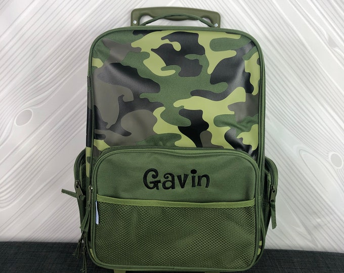 Camo Rolling Luggage toddler preschool kids FREE personalization Carry On Size Luggage