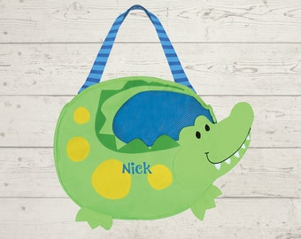 Crocodile Beach Tote toddler kids FREE personalization and sand toys included Embroidery