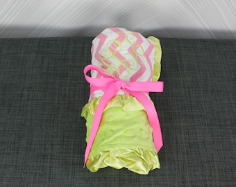 Monogrammed Baby Ruffle Minky Blanket Light Pink and Lime Chevron