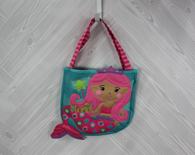 Mermaid Beach Tote toddler kids FREE personalization and sand toys included
