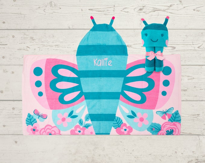Butterfly Hooded Beach Towel toddler kids FREE personalization Embroidery