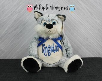 Personalized Stuffed Animal Husky. Completely Customizable. Baby Shower New Baby Birthday Adoption Christmas Gift