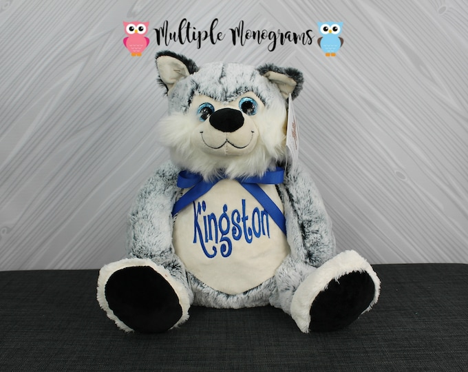 Personalized Stuffed Animal Husky. Completely Customizable. Baby Shower New Baby Birthday Adoption Christmas Gift