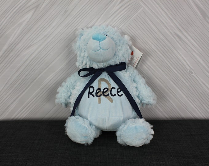 Personalized Blue Teddy Bear Stuffed Animal Custom Monogram or Personalization Baby Shower New Baby Adoption Baptism Christmas Birthday Gift